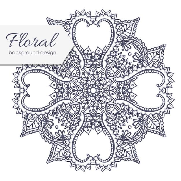 Blumenzusammensetzung mit zentangleblume. Kostenlosen Vektoren