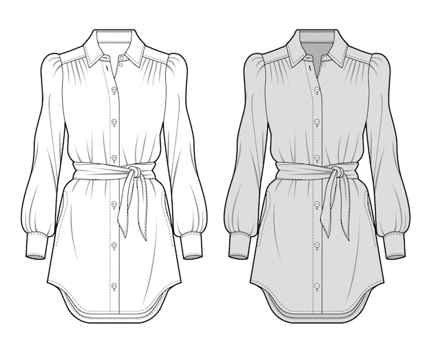 Bluse mode flache skizze vorlage Premium Vektoren