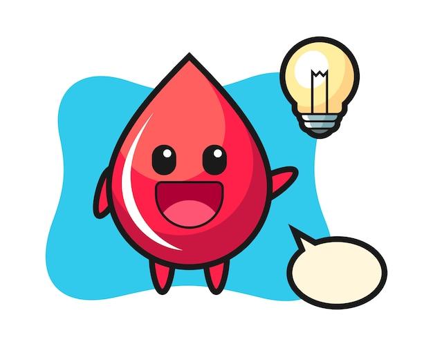 Blut-tropfen-charakter-karikatur, die die idee, niedlichen stil, aufkleber, logoelement erhält Premium Vektoren