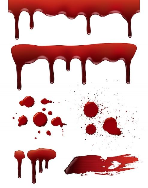 Blut tropft. horror tod symbole blutige spritzer flüssige spritzer realistische sammlung Premium Vektoren