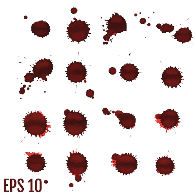 Blutfleck, rote tropfen, splatter gemalte kunst Premium Vektoren
