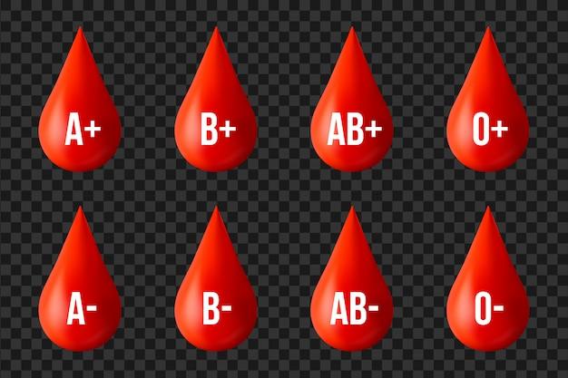 Blutgruppengruppe, medizinspendertageselement. Premium Vektoren