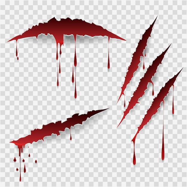 Blutige kratzspuren Premium Vektoren