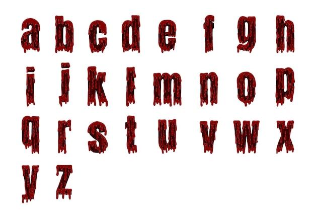 Blutiges alphabet halloweens eingestellt vom vektor Premium Vektoren
