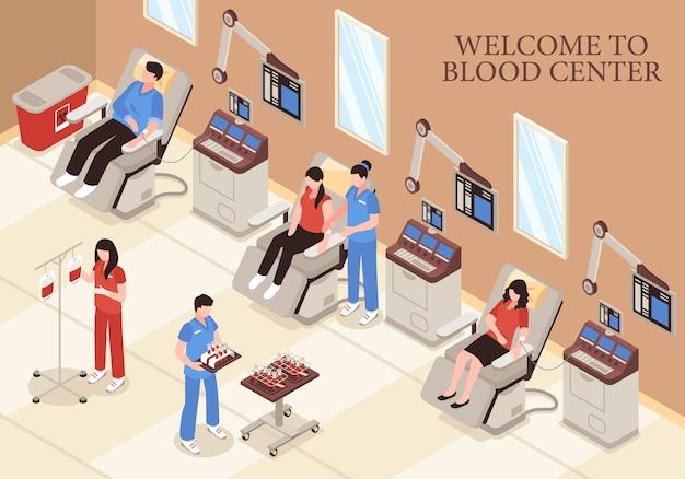 Blutmitte mit spendern in den modernen medizinischen technologien der stühle und in der isometrischen illustration des berufspersonals Kostenlosen Vektoren