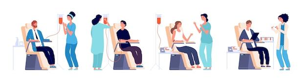 Blutspender. freiwillige mann und frau mit krankenschwestern blut spenden im krankenhaus. set blut spenden, freiwillige geben spendenillustration Premium Vektoren