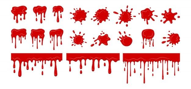 Blutstropfen spritzt klecks, sammlung. blutige aktuelle splatter-sammlung. halloween dekorative formen flüssigkeiten. fleckformsammlung, tropfen cartoon flache spritzer. isolierte illustration Premium Vektoren