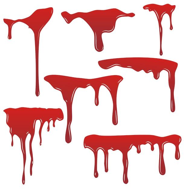 Blutstropfset. tropfen blut isloated weißen hintergrund. glückliches halloween-dekorationsdesign. red splatter fleck spritzfleck, horror blot. blutende blutflecken erschrecken textur. flüssige farbe Premium Vektoren