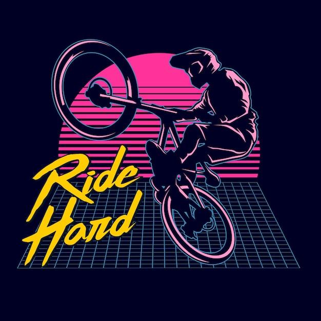 Bmx ride graphic illustration Premium Vektoren