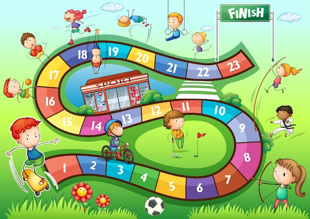 Boardgame vorlage mit sport thema illustration Kostenlosen Vektoren