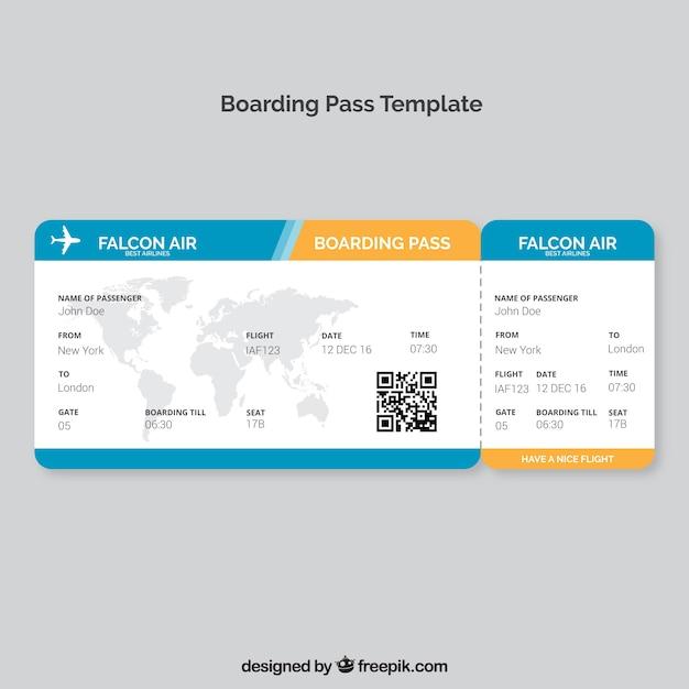 Boarding pass-vorlage mit karte und farbdetails Kostenlosen Vektoren