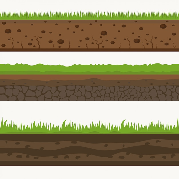 Boden nahtlose schichten grundschicht. steine und gras auf dreck. Premium Vektoren