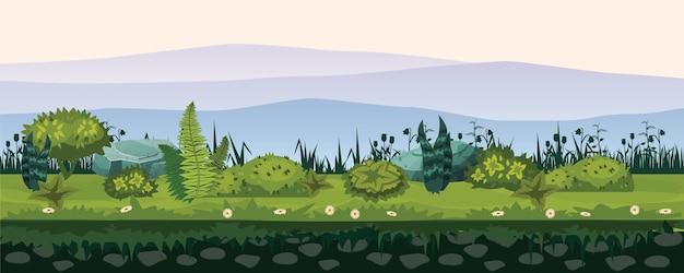Boden und land mit verschiedenen arten von vegetation, gras, laublandschaft, für die entwicklung von ui-spielen, anwendungen Premium Vektoren