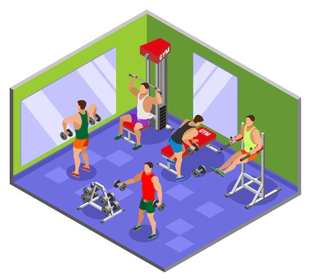Body building gym isometrische zusammensetzung Kostenlosen Vektoren