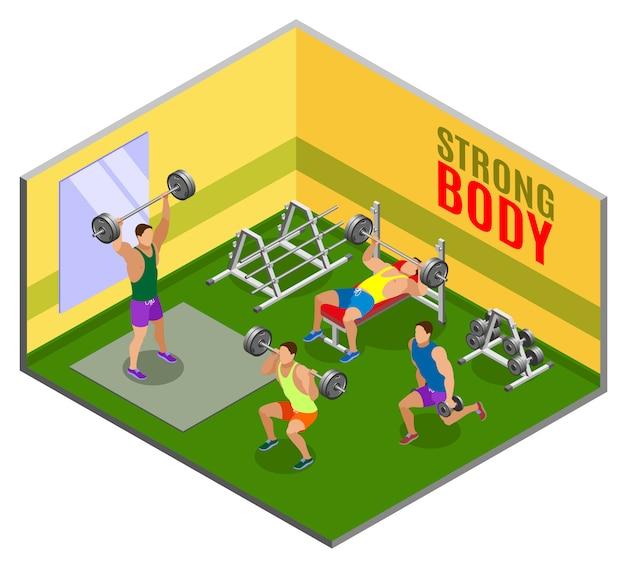 Body building workout isometrische zusammensetzung Kostenlosen Vektoren