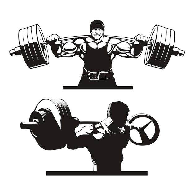 Bodybuilder macht kniebeugen, satz von bildern Premium Vektoren
