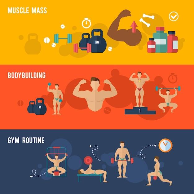 Bodybuilding-banner-set Kostenlosen Vektoren