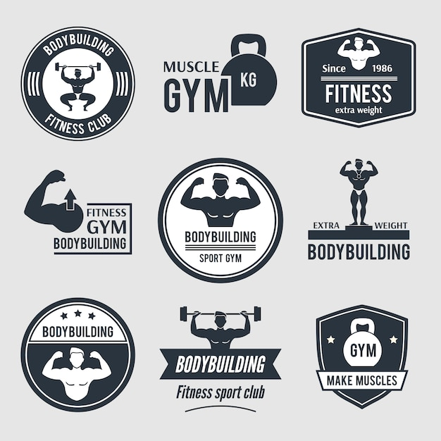 Bodybuilding fitnessstudio logo gesetzt Premium Vektoren