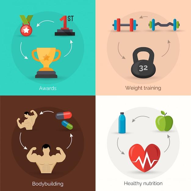 Bodybuilding flat set Kostenlosen Vektoren