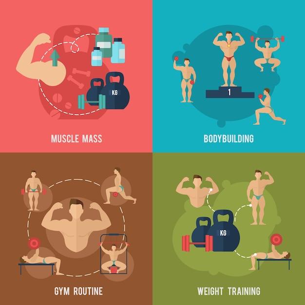 Bodybuilding-set Kostenlosen Vektoren