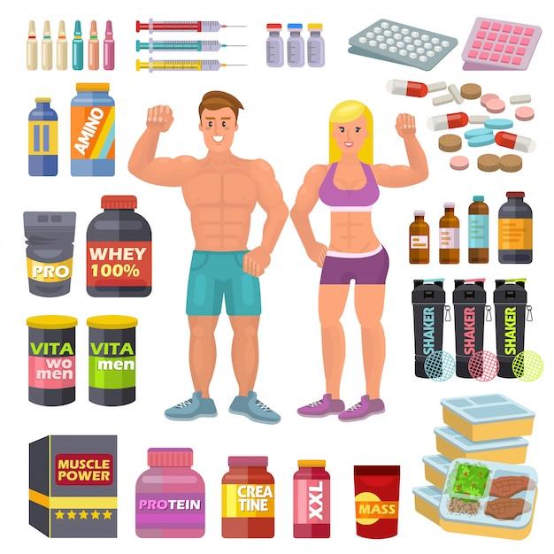 Bodybuilding sport food vektor bodybuilder ergänzen proteinkraft und fitness diät ernährung für bodybuild workout illustration satz von energie-shaker für muskelwachstum isoliert auf leerraum Premium Vektoren