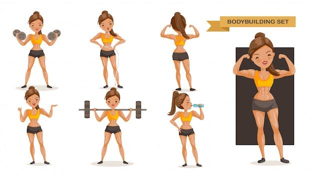 Bodybuildingfrau eingestellt. viele ansichten von übung. Premium Vektoren