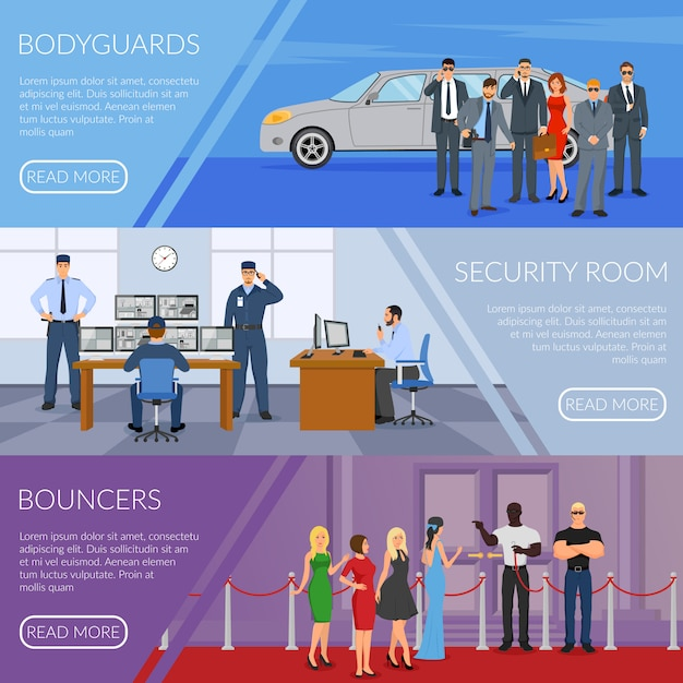 Bodyguard-banner eingestellt Kostenlosen Vektoren