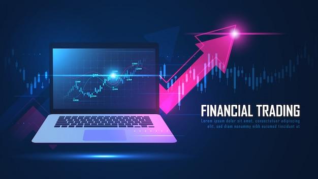 Börse oder forex online-handel grafik auf notebook-konzept Premium Vektoren