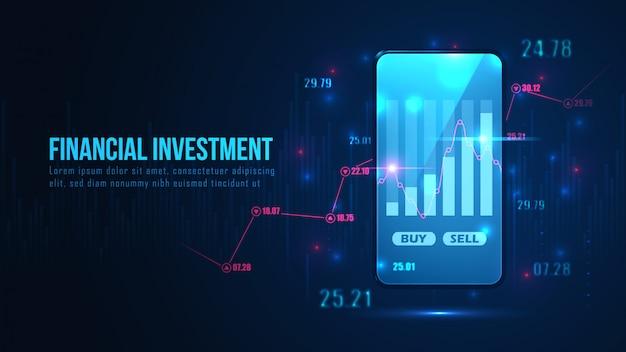 Börse oder forex online-handel grafik auf smartphone-konzept Premium Vektoren