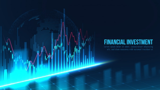 Börsen- oder devisenhandelsdiagramm im grafischen konzept Premium Vektoren