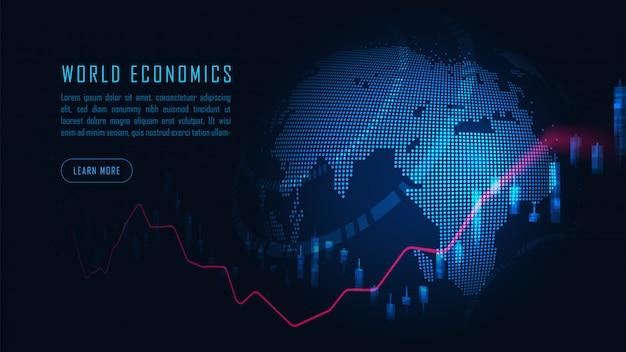 Börsen- oder devisenhandelsgraphkonzept Premium Vektoren