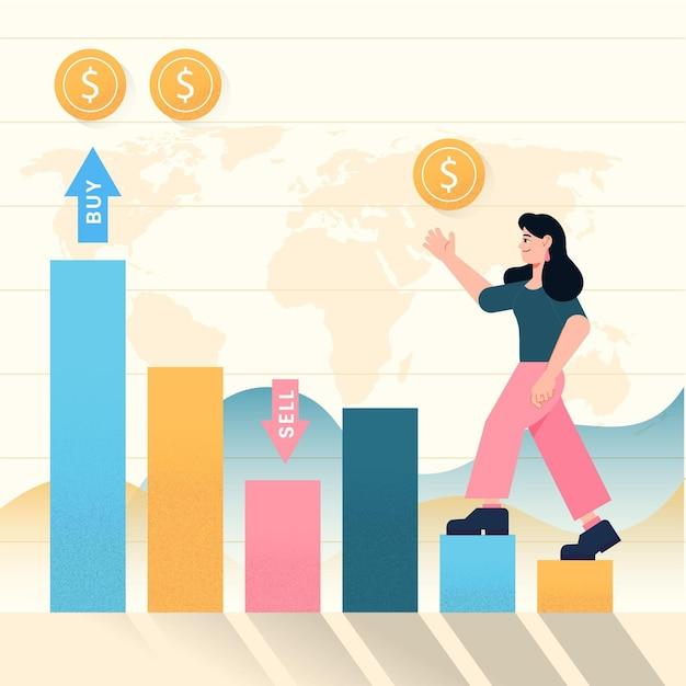 Börsendaten dargestellt Kostenlosen Vektoren
