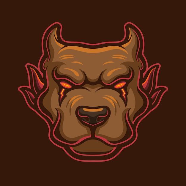 Böse hundekopf logo vorlage illustration. esport logo gaming Premium Vektoren