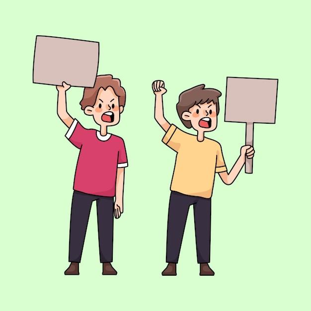 Böse leute, die protest niedliche karikaturillustration sammeln Premium Vektoren