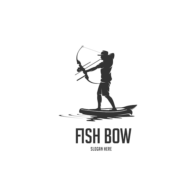 Bogenfischenpaddelbrett-silhouettelogo Premium Vektoren