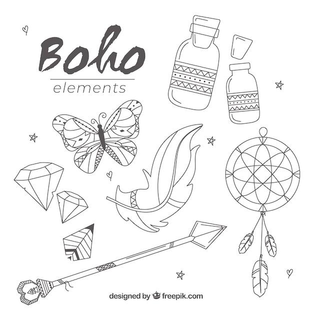Boho Elementsammlung mit flachem Design Kostenlose Vektoren