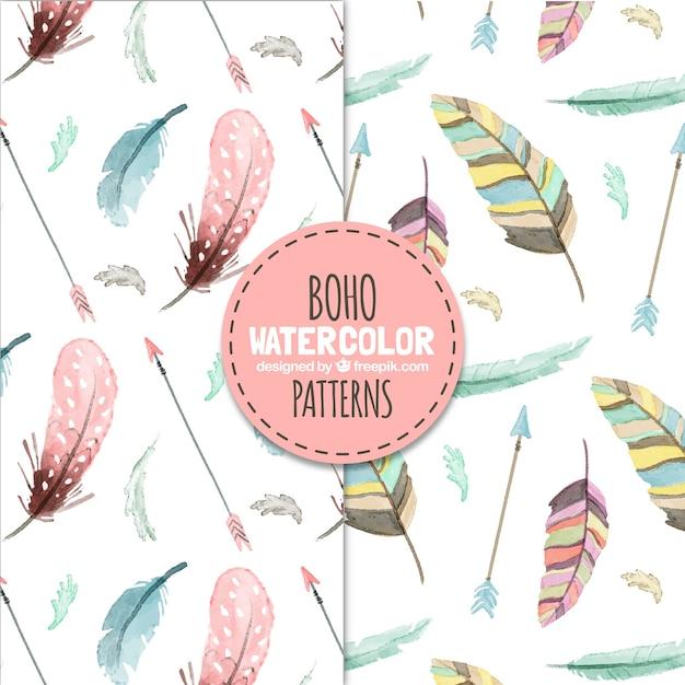 Boho muster mit aquarell federn Kostenlosen Vektoren