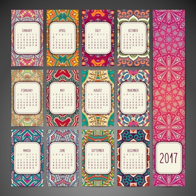 Boho-Stil Kalender-Design Kostenlose Vektoren