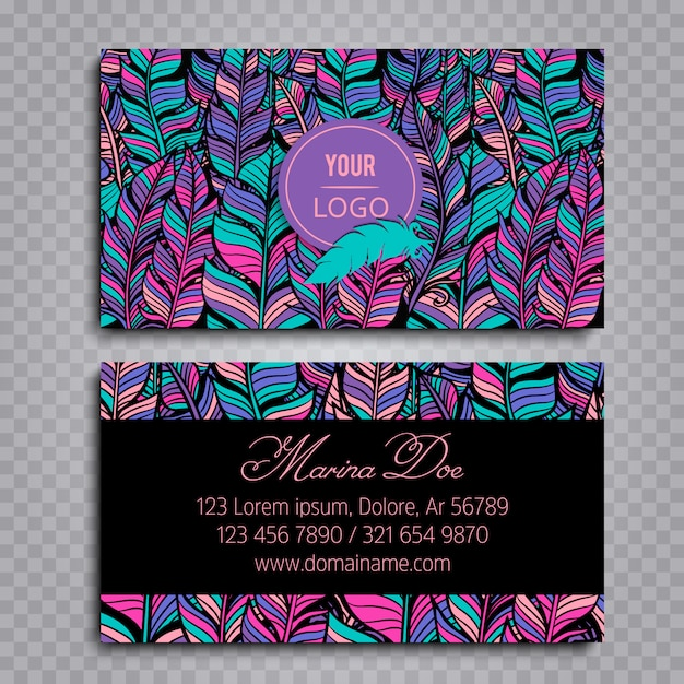 Boho-Stil Visitenkarte Kostenlose Vektoren