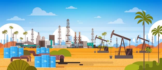 Bohrinsel im wüsten-osttreibstoffproduktions-und handels-konzept Premium Vektoren