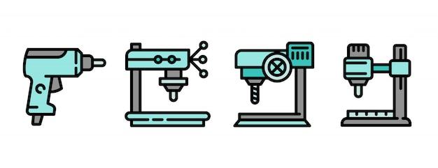 Bohrmaschineikonen eingestellt, entwurfsart Premium Vektoren
