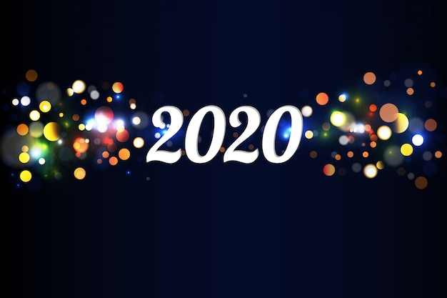 Bokeh funkeln weihnachten 2020 Premium Vektoren