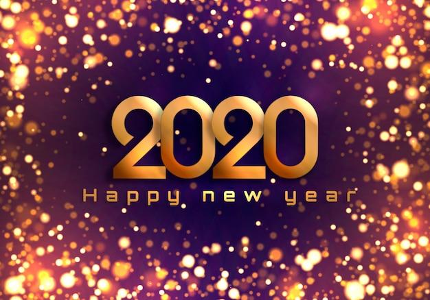 Bokeh-schein weihnachten 2020 hintergrund, lichter des neuen jahres. Premium Vektoren
