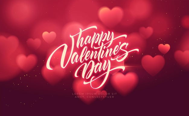 Bokeh verschwommene herzform glänzend luxuriös zum valentinstag glückwünsche. Kostenlosen Vektoren