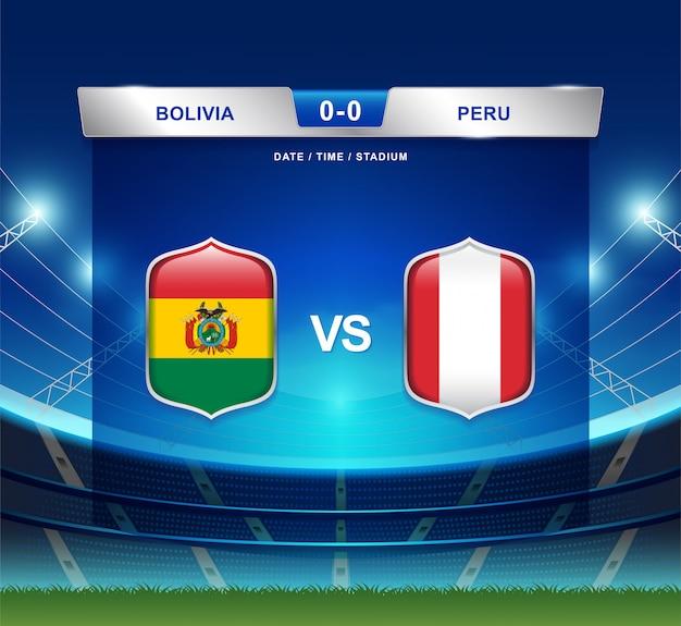 Bolivien gegen peru-anzeigetafelsendungfußball copa america Premium Vektoren