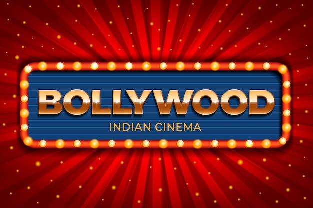 Bollywood-kinozeichen des realistischen stils Kostenlosen Vektoren