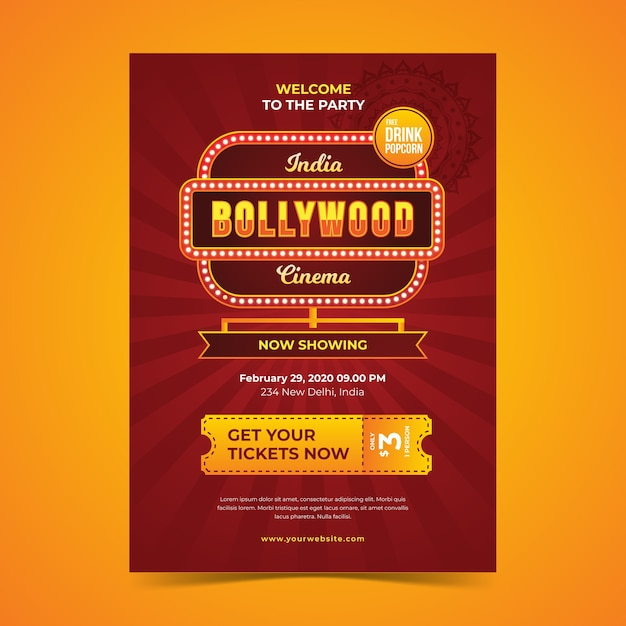 Bollywood party poster vorlage Premium Vektoren