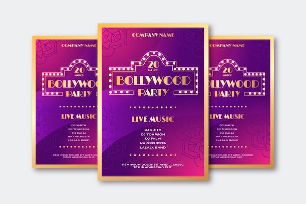Bollywood-partyplakat mit goldener beschriftung Kostenlosen Vektoren