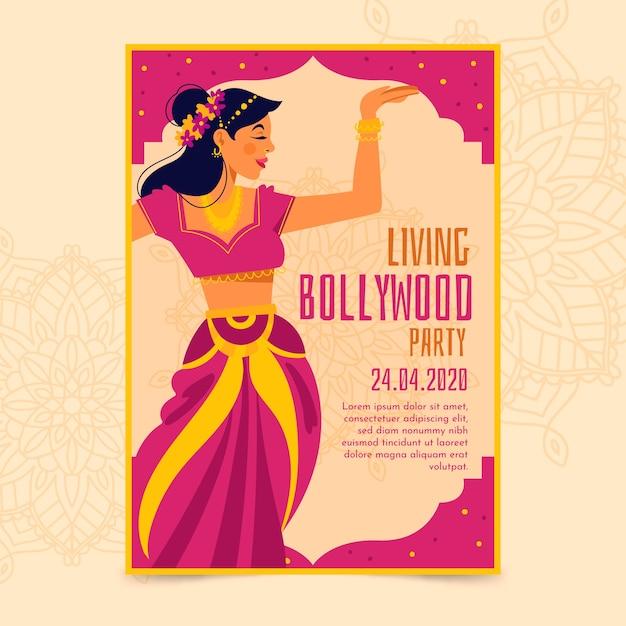 Bollywood-partyplakat mit tänzerschablone Kostenlosen Vektoren