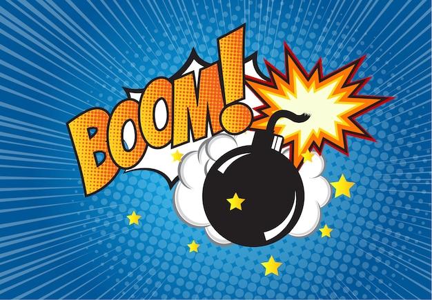 Bombe im pop-art-stil und comic-sprechblase mit text - boom! karikaturdynamit am hintergrund mit punkthalbtonbild und sonnendurchbruch. Premium Vektoren